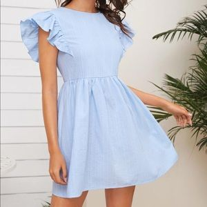 SHEIN Light Blue Ruffle Sleeve Dress